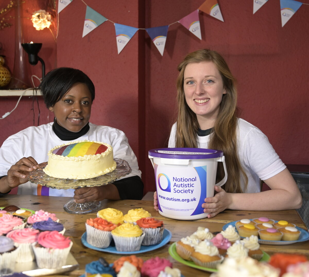 Model shoot to illustrate cake sales or bake sales to raise money.