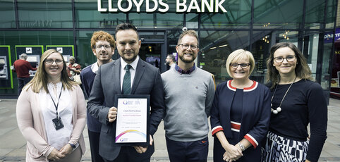 40315   National Autistic Society   18/7/19Autism Friendly Awards presentation to Lloyds at Lloyds Bank Hub branch , Market Street , Manchester.L-R  Anne Dowle, proposition manager branch design, James Hargreaves area director of Lloyd's bank Manchester and Merseyside , Leo Capella, autism access specialist with the  National Autistic Society , Richard Forster, senior bank manager and Tom Purser , head of campaigns with the National Autistic Society , Catherine Rutter, MD of  Connect and Holly Pearce , senior manager of  group disability programme with Lloyd's banking group.