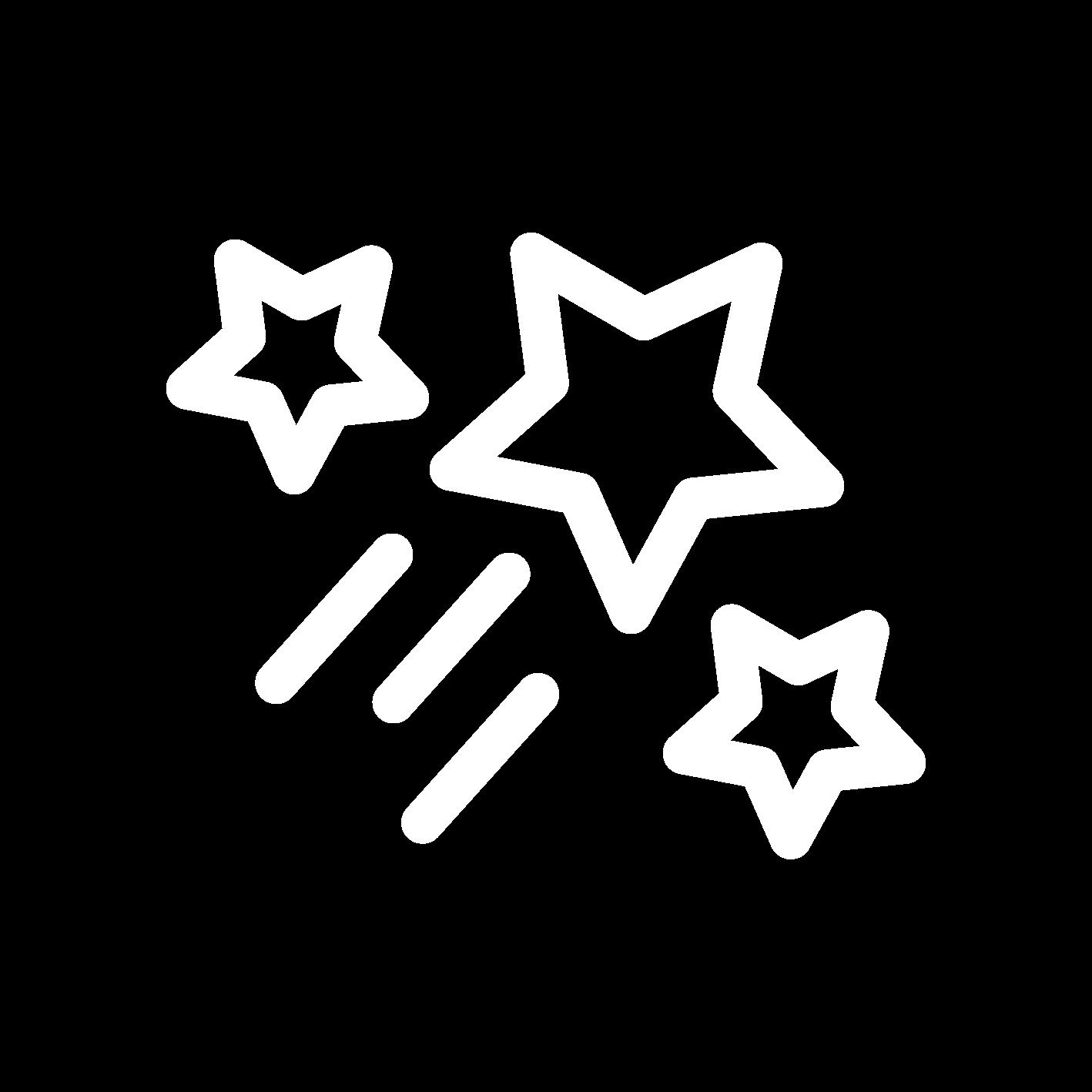 white shooting star icon