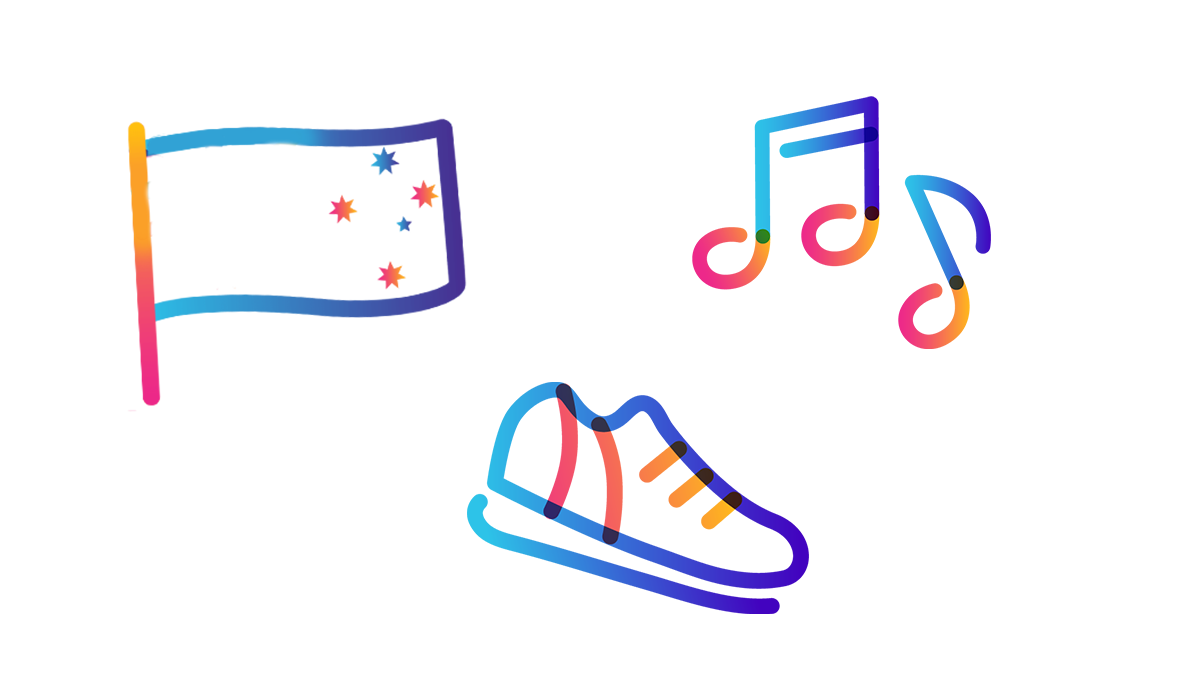 music note, flag, and shoe icons