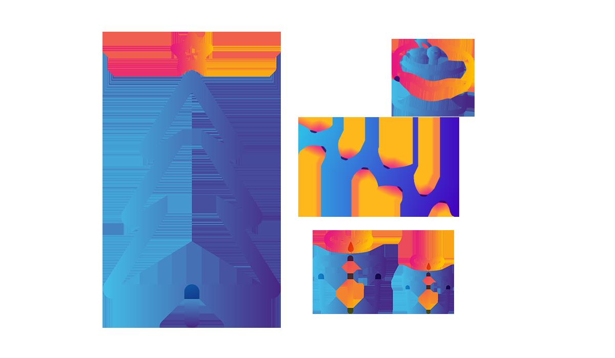 tree, present, xmas cake, and lights icons