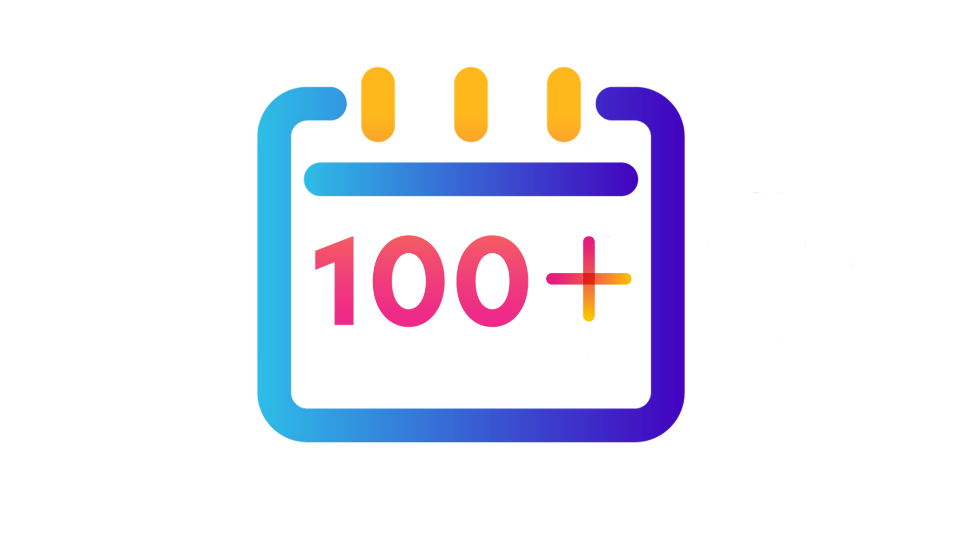 calendar icon with '100' written in the middle and 'plus' symbol